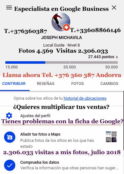 Tienes problemas con la ficha de Google Business soy especialista en Google business local guide 8 con más de 2 300 000 visitas a mis fotos de Google maps