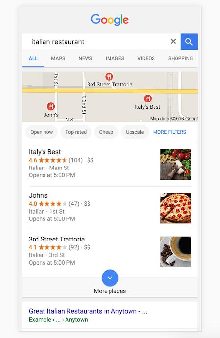 """Mejorar la clasificación local en Google Cuando los usuarios realizan búsquedas de lugares y empresas cercanos a su ubicación, se muestran resultados locales, que aparecen en varios lugares de Maps y la Búsqueda. Por ejemplo, es probable que veas resultados locales si buscas los términos """"restaurante italiano"""" en tu dispositivo móvil. Google tratará de mostrarte restaurantes cercanos de ese tipo a los que podrías ir. En la imagen siguiente, Google usa los resultados locales para sugerir opciones. Puedes mejorar la clasificación local de tu empresa mediante Google My Business. ¿No encuentras tu empresa? Mejora la información Puede que descubras que tu empresa no se muestra en búsquedas relevantes en tu zona.Para ampliar la frecuencia con la que tu empresa aparece en los resultados de búsqueda locales, completa las tareas que se indican a continuación en Google My Business. Proporcionar información de empresa en Google My Business y mantenerla actualizada puede ayudarte a mejorar la clasificación local de tu empresa y también tu presencia en la Búsqueda y Maps. ¿Quieres editar la información de tu empresa en 10 o más ubicaciones a la vez? Crea una hoja de cálculo de subida masiva. Introducir datos completos En los resultados locales tienen preferencia los más relevantes para cada búsqueda. Por lo tanto, las empresas que hayan proporcionado información completa y precisa tendrán más posibilidades de aparecer en los resultados cuando los usuarios busquen términos relacionados con ellas. Introduce toda la información de tu empresa en Google My Business, para que los clientes sepan a qué te dedicas, dónde se encuentra tu empresa y cuándo está abierta. Proporciona datos como la dirección postal, el número de teléfono y la categoría, por ejemplo. Mantén la información actualizada para que refleje los posibles cambios en tu empresa. Más información sobre cómo cambiar los datos de una empresa Verificar las ubicaciones Verifica las ubicaciones de tu empresa para aumentar la pr"""