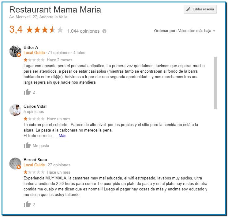 Cómo responder a las reseñas negativas en Google My Business ejemplo Restaurante Mama Maria de Andorra no responde error estratégico total además de falta de respeto por sus clientes