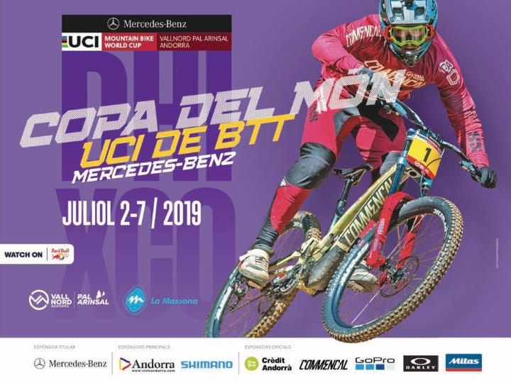 COPA DEL MUNDO BTT 2019 UCI MOUNTAIN BIKE WORLD CUP La Unión Ciclista Internacional (UCI) ha vuelto a escoger la Massana como sede de la Copa de Mundo de BTT 2019. Una vez más, Vallnord - Pal Arinsal será el escenario de tres pruebas: la de cross-country (XCC), la de short-track (XCC) y la de descenso (DHI), entre los días 2 y 7 de julio del 2019. UCI MTB WORLD CUP