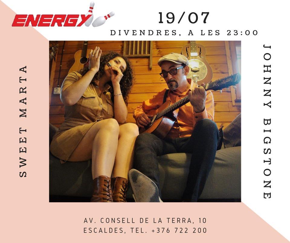 No et perdis aquest divendres el concert de Sweet Marta & Johnny BigStone, duo acústic de blues i música tradicional americana. T'esperem aquest divendres, 19/07, a les 23:00 a Club Energy!!