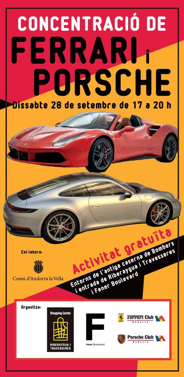 Amants de Porsches i Ferraris, aquest dissabte 28 a la tarda, als entorns de l'espai de l'antiga caserna de Bombers, entrada de Riberaygua i Travesseres i Fener Boulevard, trobareu autèntiques joies de 4 rodes!