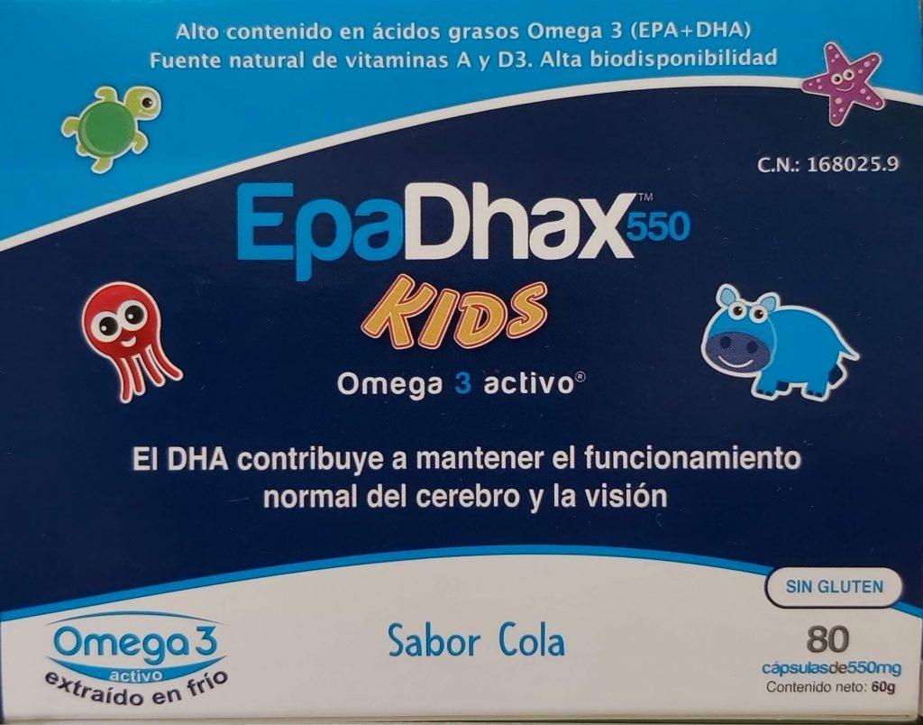 Comprar EpaDhax Kids 550 en Gran Farmacia Andorra Online EpaDhax Kids es un complemento alimenticio con un alto contenido en ácidos grasos Omega 3