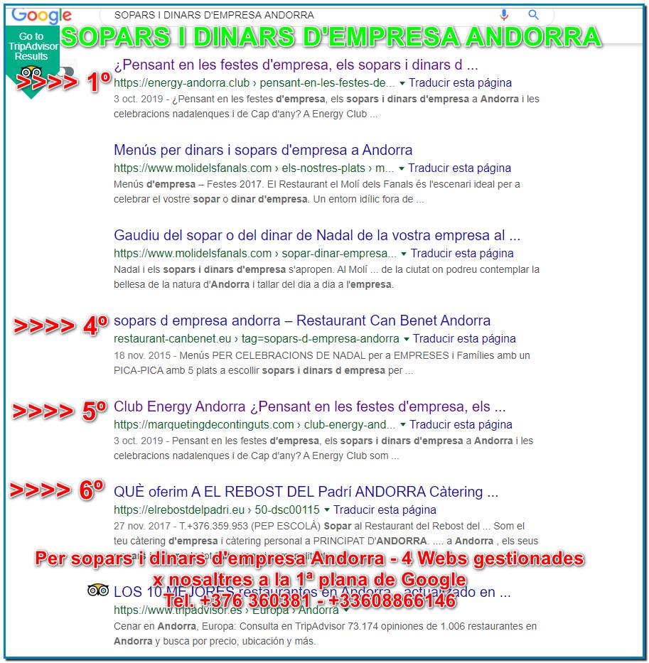 Exemple de posicionament web a Andorra per SOPARS I DINARS DE NADAL ANDORRA