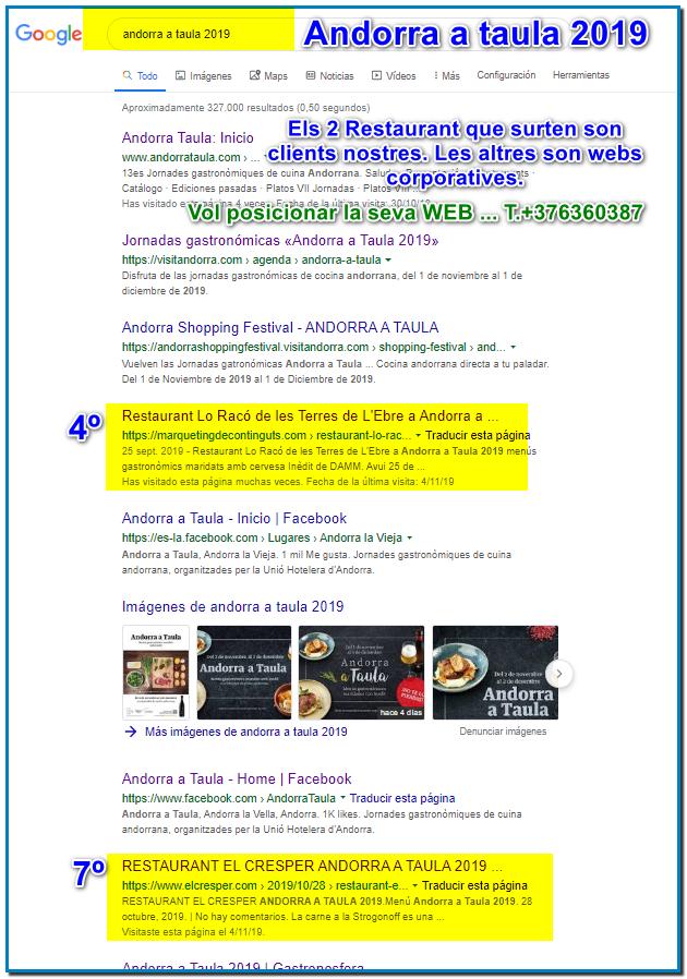 Vol posicionar el seu Restaurant o el seu Hotel a Google els dos restaurants que surten per Andorra a Taula 2019 son dos clients nostres