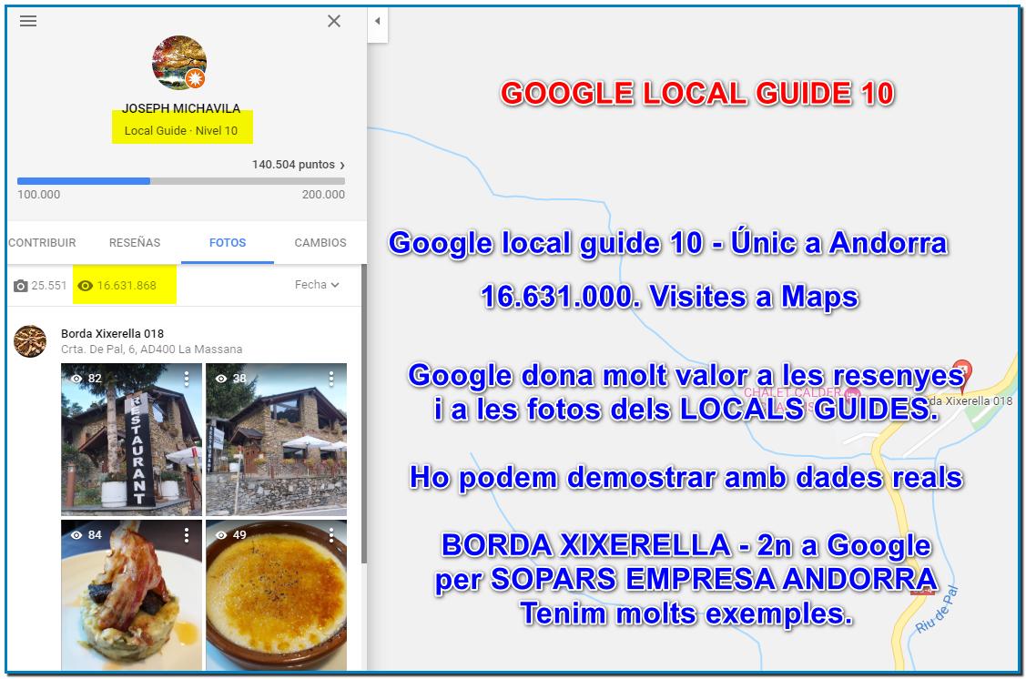 Potencia el teu negoci i fes que et trobin els teus clients amb Google som els únics Google Local Guide 10 amb 16.000.000 de visites a les nostres fotos a maps.