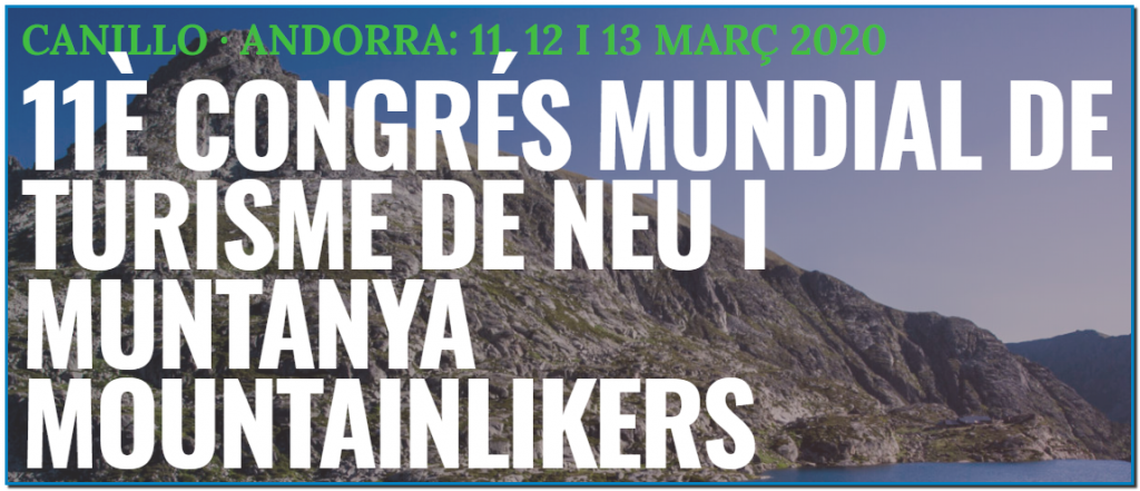 The World Tourism Organization (UNWTO) and the Ministry of Tourism of Andorra, in collaboration with the Parish of Canillo will organize the 11th World Congress on Snow and Mountain Tourism, on 11-13 March 2020, in Andorra.