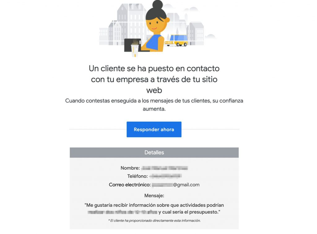 Mensajes en la aplicación Google My Business al no responder en 24 horas Google puede bloquearnos y eliminar la posibilidad de que nos envíen mensajes, esa cuenta tendrá menor valoración en el algoritmo de Google