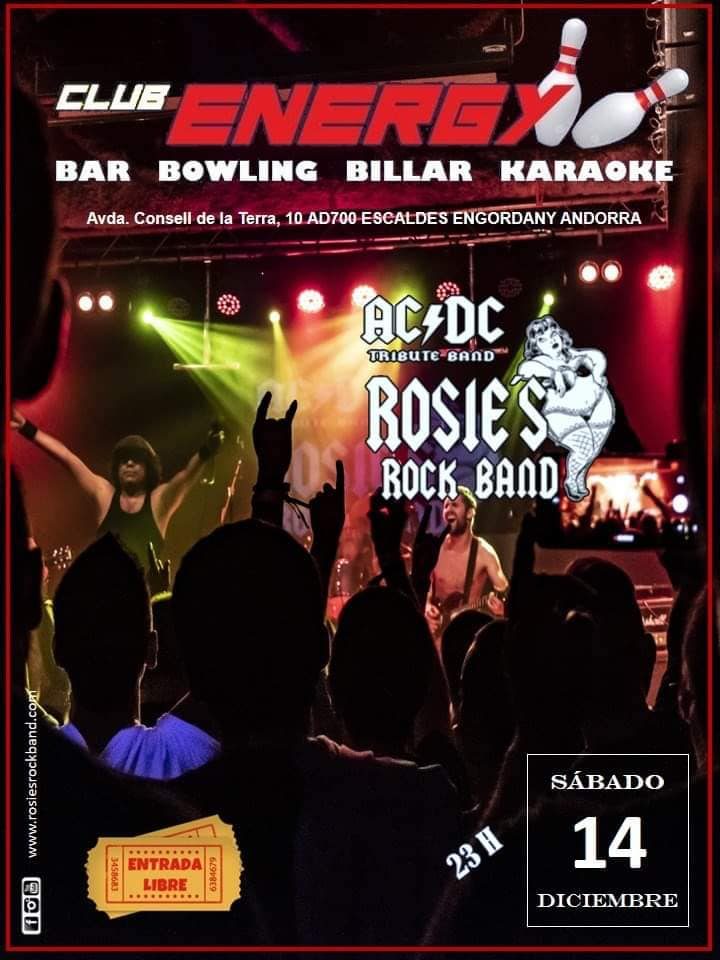 Reviu una nit d'adrenalina i bogeria amb les cançons del grup de rock més famós de tots els temps AC DC. El dissabte, 14/12, et convidem al tribut d'aquesta banda de la mà del grup ROSIE'S,