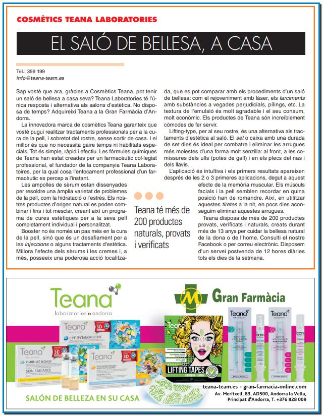 Cosmètics Teana el saló de bellesa a casa seva Teana Laboratories única resposta i alternativa als salons d'estètica a Andorra Teana a la Gran Farmàcia d'Andorra