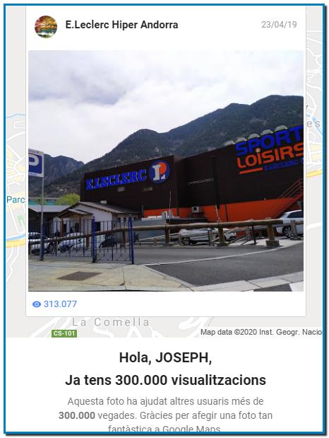 Hola JOSEP, Ja tens 300.000 visualitzacions.Aquesta foto ha ajudat altres usuaris més de 300.000 vegades. Gràcies per afegir una foto tan fantàstica a Google Maps.