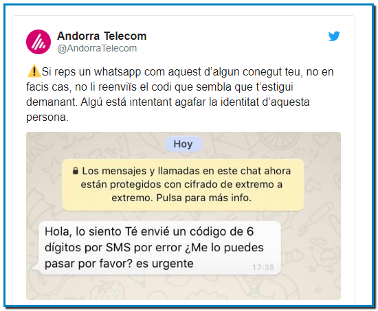 """Andorra Telecom ha alertat per les xarxes socials d'un frau que circula per WhatsApp. L'entitat ha compartit una fotografia del missatge que estan rebent alguns usuaris per tal que ningú caigui en el parany. """"Hola, ho sento. T'he enviat un codi de 6 dígits per SMS per error. Me'l pots passar, si us plau? És urgent"""" diu el missatge fraudulent. Andorra Telecom avisa que no s'ha de fer cas ni contestar-lo, ja que es tracta d'algú que vol agafar la identitat de la persona que contesti el missatge."""