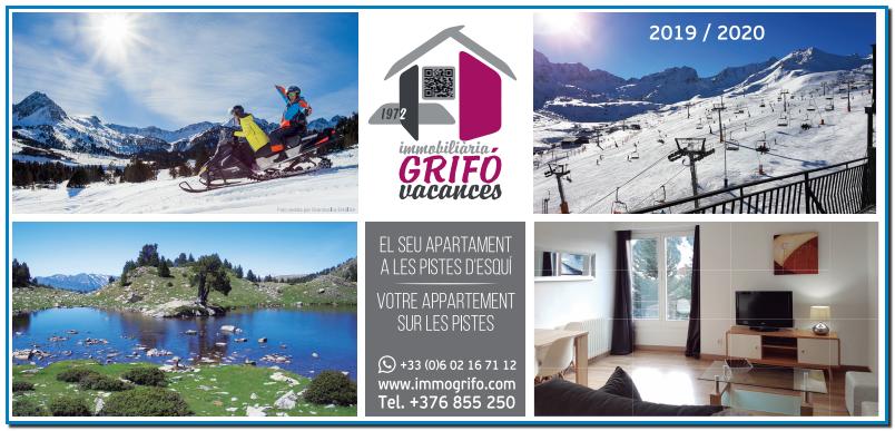 LOCATION APPARTEMENT PAS DE LA CASE IMMOGRIFO ET GRIFO VACANCES locations appartements touristiques avec une expérience de plus de 45 ans dans le marché de la location d'appartements de vacances au Pas de la Case en Andorre et aussi El Tarter Soldeu Canillo.