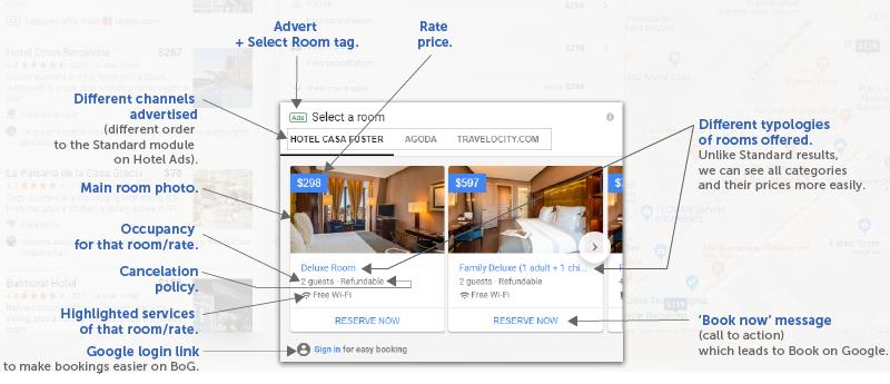 Room Booking Module otro paso de Google contra las OTAs una función extra de Google Hotel Ads (GHA) que Google incluye debajo de los distintos precios del Hotel