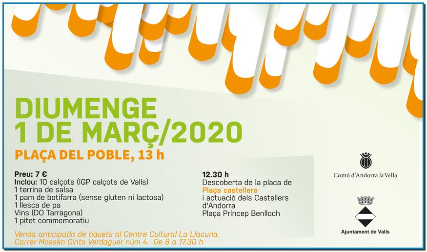 Calçotada popular a Andorra la Vella Diumenge 1 març 2020 - 13:00 A la plaça del Poble d'Andorra la Vella - Preu 7 €