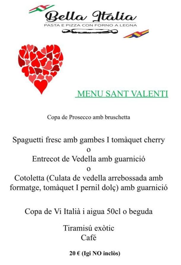 Aquest Sant Valentí sorprèn la teva parella amb un sopar romàntic a l'autèntic Restaurant Itàlia Bella Itàlia.