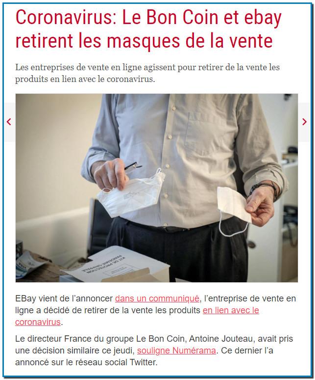 Coronavirus: Le Bon Coin et ebay retirent les masques de la vente Les entreprises de vente en ligne agissent pour retirer de la vente les produits en lien avec le coronavirus.