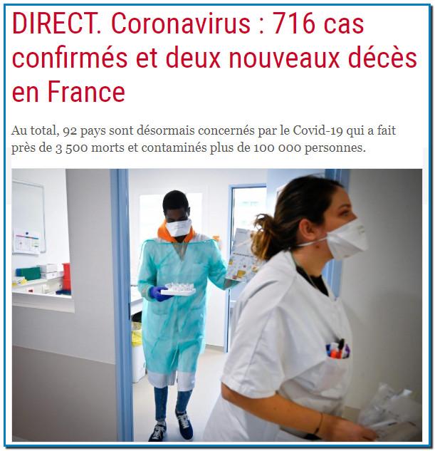 DIRECT. Coronavirus : 716 cas confirmés et deux nouveaux décès en France Mis en ligne le 7/03/2020 à 09:47 | mis à jour le 7/03/2020 à 14:54 Au total, 92 pays sont désormais concernés par le Covid-19 qui a fait près de 3 500 morts et contaminés plus de 100 000 personnes.