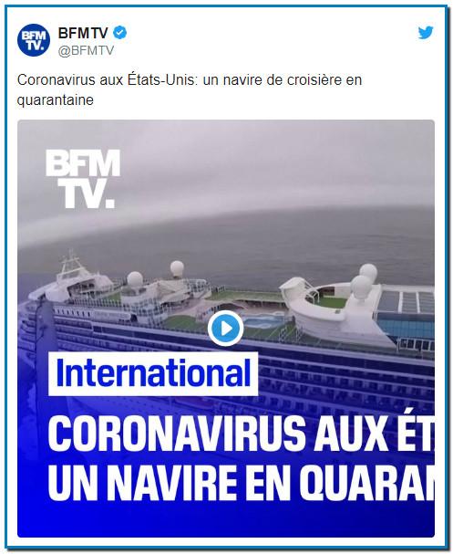 Coronavirus aux États-Unis: un navire de croisière en quarantaine