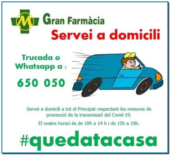GRAN FARMÀCIA ANDORRA ONLINE SERVEI A DOMICILI – WhatsApp T. +376 650 050
