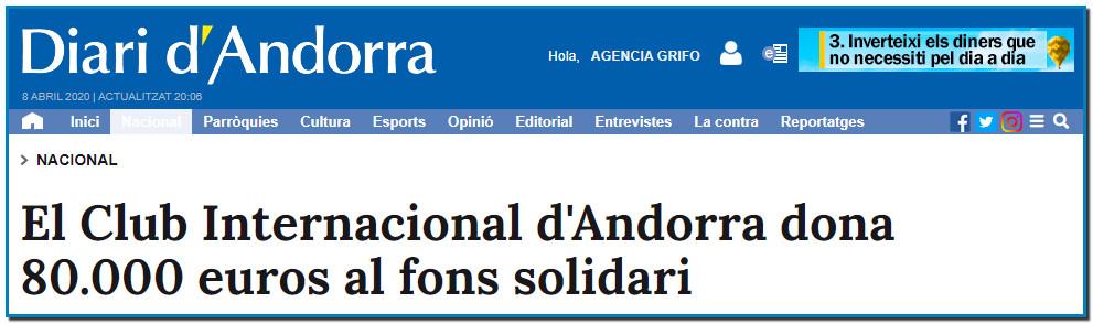 """El Club Internacional d'Andorra dona 80.000 euros al fons solidari El president del Club, Simon Binsted, ha emès un missatge al cap de Govern i al ministre de Salut per agraïr la tasca del personal sanitari, tot esperant que l'ajut monetari contribueixi al suport """"econòmic i emocional"""""""