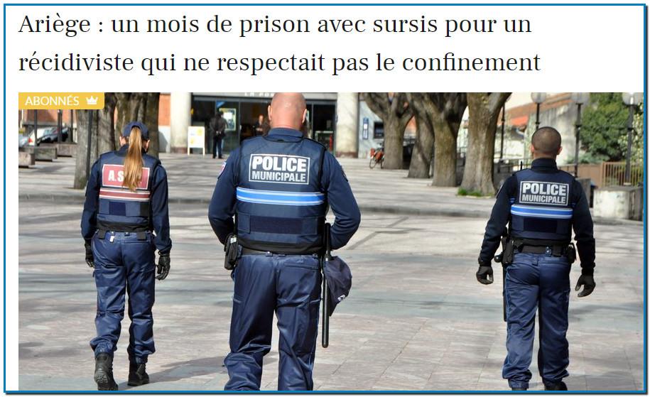 Ariège : un mois de prison avec sursis pour un récidiviste qui ne respectait pas le confinement