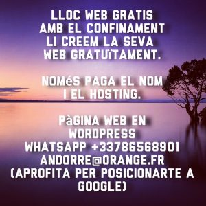 Lloc web gratuït #web #website #gratis #gratuit #free . Sitio web gratis. T.+3378656891 andorre@orange.fr . #wordpress #wordpressdesign #wordpressblogger #wordpressgratis