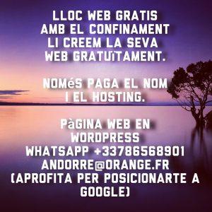 Lloc web gratuït #web #website #gratis #gratuit #free . Sitio web gratis. T.+3378656891 andorre@orange.fr . #wordpress #wordpressdesign #wordpressblogger #wordpressgratis