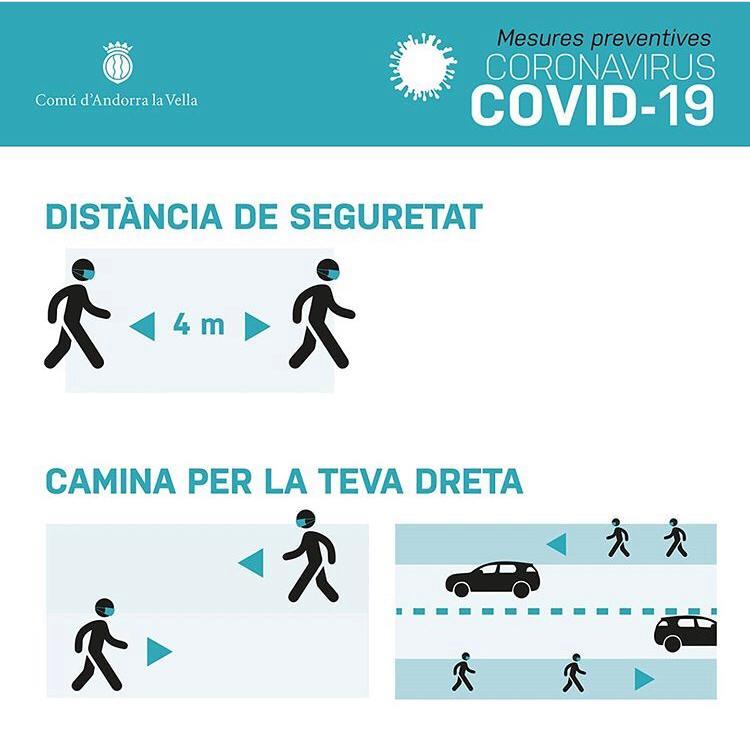 Al Principat d'Andorra tindrem a partir d'avui una hora de lleure perquè la població pugui sortir al carrer. Recomanacions del Comú d'Andorra la Vella