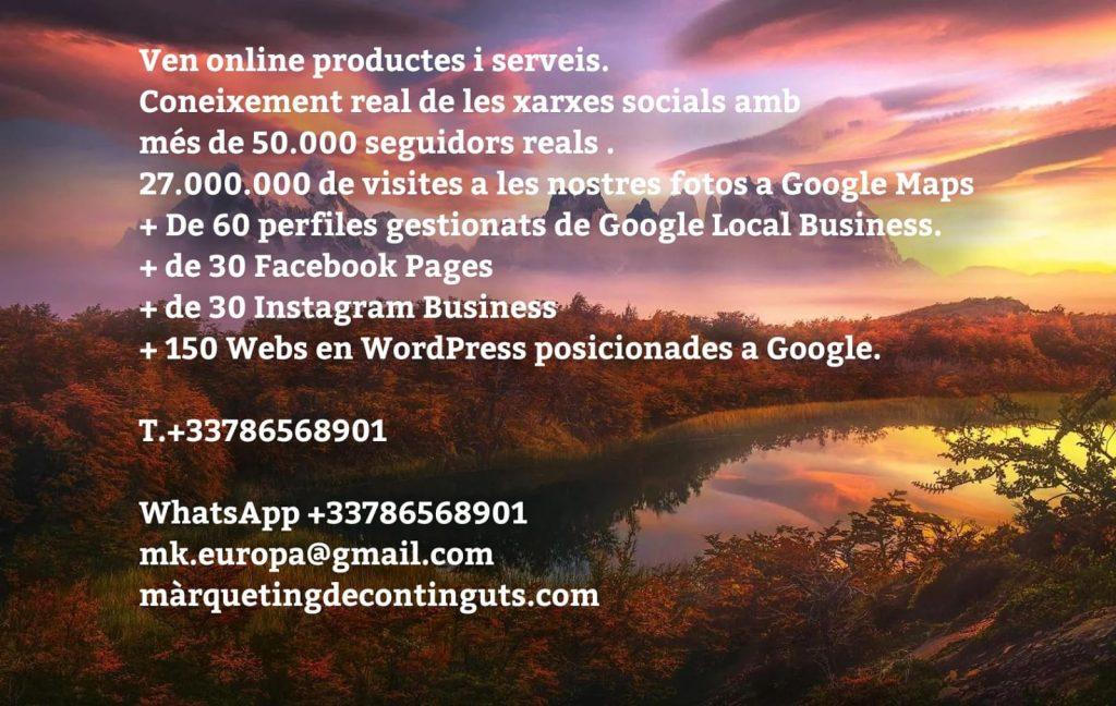 Com treballar en línia? Ven online productes i serveis. Una botiga en línia no és fàcil ni ràpid, millor una Pàgina senzilla en WORDPRESS. Ara sortiran experts de sota les pedres. Nosaltres li garantim Posicionament i resultats. Coneixement real de les xarxes socials amb més de 50.000 seguidors reals . 27.000.000 de visites a les nostres fotos a Google Maps + De 60 perfiles gestionats de Google Local Business. + de 30 Facebook Pages + de 30 Instagrams Business + 150 Webs en WordPress posicionades a Google. Nosaltres li donem garantia, resultats i bon preu Altres només li donant preu. WhatsApp +33786568901 mk.europa@gmail.com màrquetingdecontinguts.com Barcelona, Sabadell, Toulouse i Andorra. #vendaonline #vendaenlinia #ventaenlinea #webonline #prestashop #shopify #shopifydropshipping #botiguesenlinia #shoponline #tiendasonline