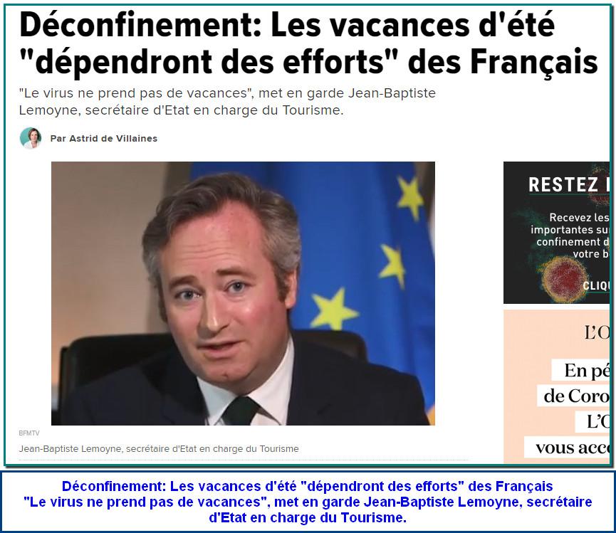 """Déconfinement: Les vacances d'été """"dépendront des efforts"""" des Français """"Le virus ne prend pas de vacances"""", met en garde Jean-Baptiste Lemoyne, secrétaire d'Etat en charge du Tourisme."""