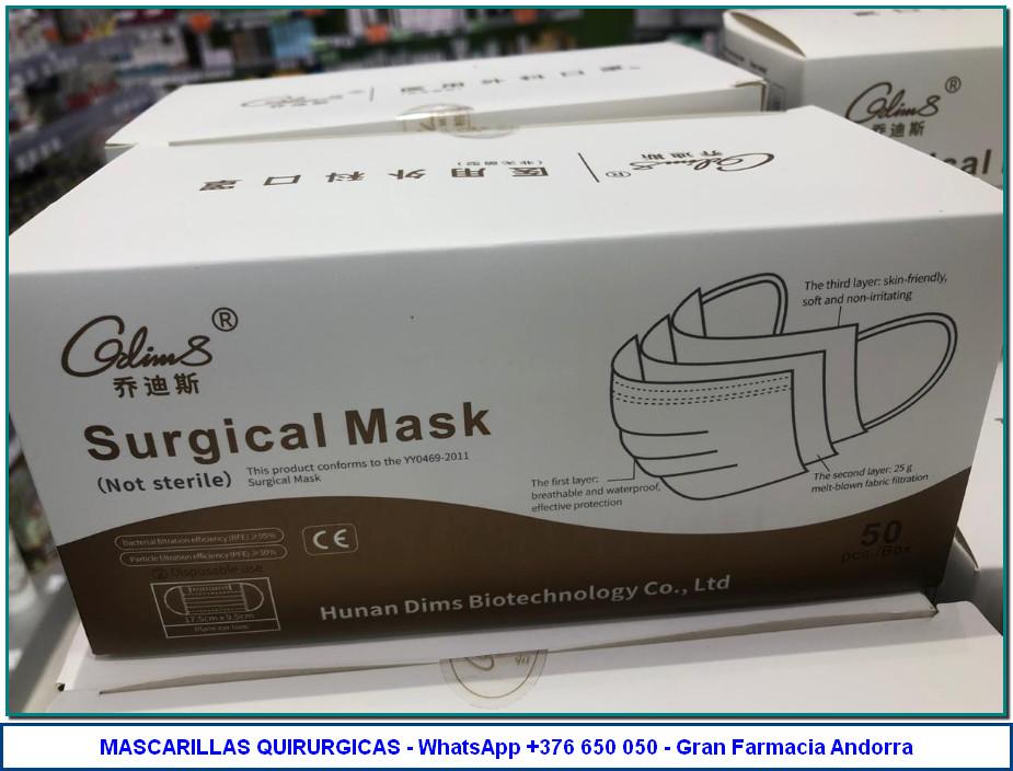 Comprar Mascarilla Quirúrgica en Gran Farmacia Andorra online. Mascarilla de 3 capas hipoalergénica. De un solo uso. Con tira nasal moldeable, y gomas elásticas para un ajuste perfecto.
