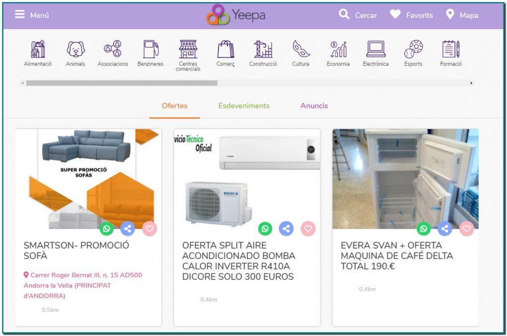 Yeepa és una web/app que neix a principis de l'any 2020 a Andorra i que posa en contacte a empreses d'Andorra amb els seus habitants i amb els turistes que arriben a Andorra any rere any.