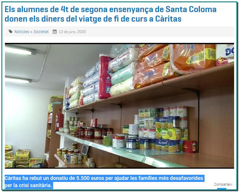 Un cop mes Andorra i els seus joves un exemple Càritas ha rebut un donatiu de 5.500 euros per ajudar les famílies més desafavorides per la crisi sanitària.