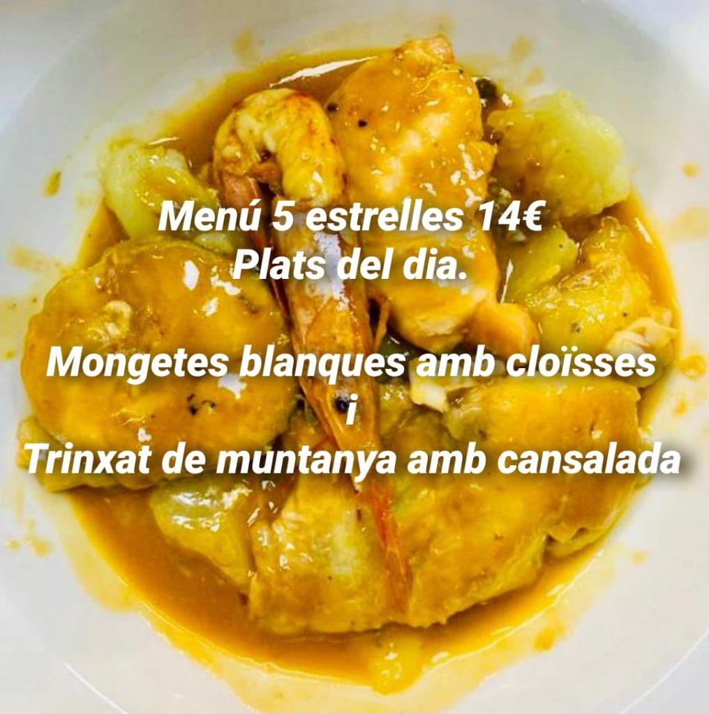 Restaurant Beluga trobareu els Plats del dia menú 5 estrelles 14€ Restaurant BELUGA TRINXAT de MUNTANYA amb CANSALADA i XAI del PIRINEU ROSTIT al FORN